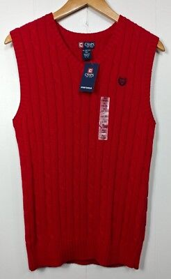 Chaps Sweater Vest Boys XL 18-20 Red Cotton Knit Sleeveless Brand New Casual