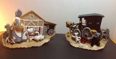 Set of 2 BURWOOD Decorative Wall Plaques, Country Amish Life, 1995 Issue HOMCO