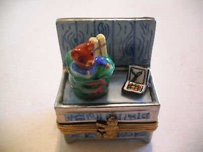 Peint Main Limoges Toy Bench Trinket Box