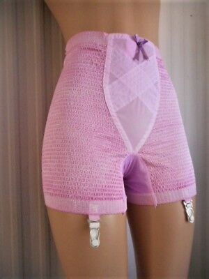 Pretty Puckers Pink Orchid Nylon /acetate /rubber 4-Garter Panty Girdle Xl