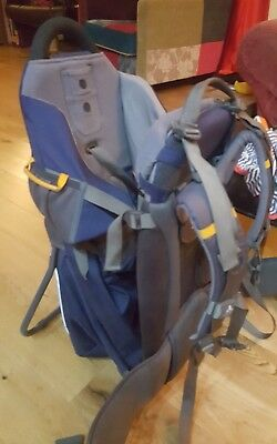 vaude baby carrier rucksack in dark blue with rain/sun cover and change mat