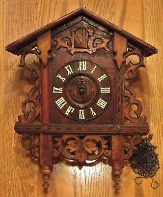 Antique German Railroad Cuckoo Clock Parts or Repair