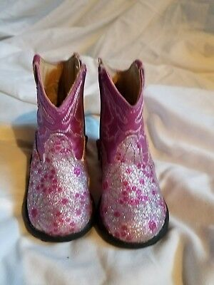 ROPER Toddler Girls Size 4 Pink sparkly  Leather Cowboy/Cowgirl Chunky Boot