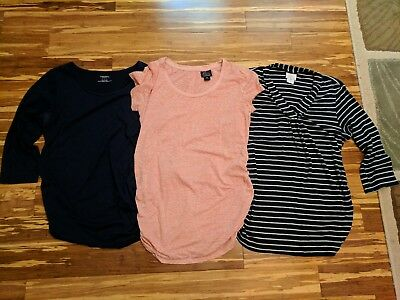 Motherhood Maternity Medium M Cotton Shirts Lot Navy, Coral/Peach, Gray Stripes