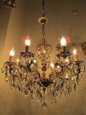 Antique Vintage 8 arms 3 Chrubs Crystal Chandelier Lamp 1960s 60cms Diamtr Rare