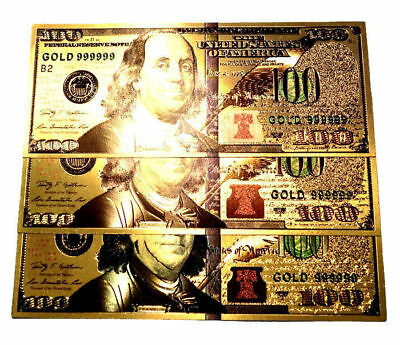 (3) New Style 999999 24K Gold $100 Bill Us Banknotes In Protective Sleeves