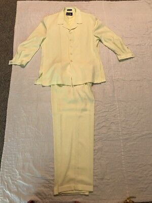 Franco Vessi Italian Design Yellow Polyester 2 Piece Leisure Suit Vintage 70's