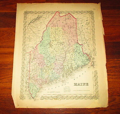 1855 Colton's Hand-Colored Map of Maine