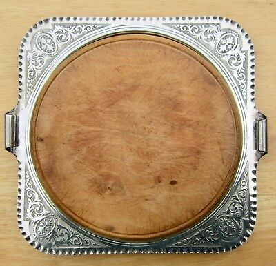 Antique SHEFFIELD silver plate bread/cheese board tray & original wood centre