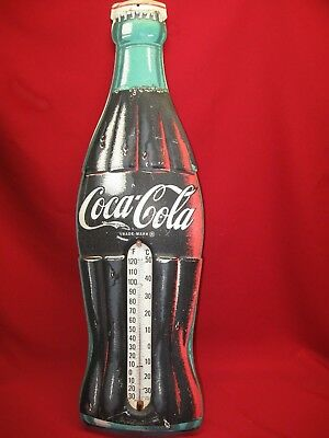 """Vintage Coca Cola 29""""  Metal Advertising Bottle Thermometer Sign"""