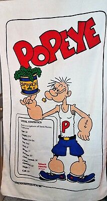 """Popeye and Olive Oyl Vintage 35x60"""" King Features Beach Towels"""