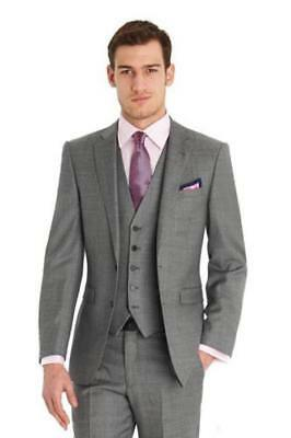 New Gray Bridegroom Men Suits Jacket Tie Pants Vest Handkerchief Custom Made J74