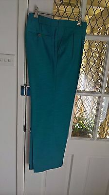 Vintage 80's men's Pleated Aqua Raw Silk Tailored Trousers Size 38