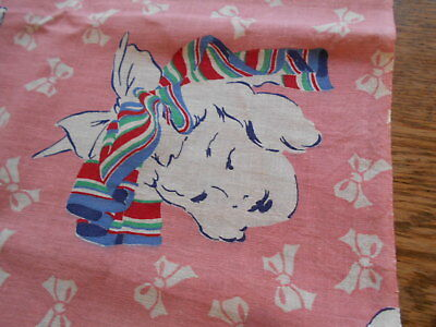 """Vintage Antique Feed Sack Piece Cotton 17"""" X 23"""" 1940s  Little Girl With Bow"""