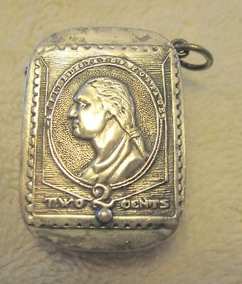 Antique Silver- Plated Stamp Case for Keychain or Chatelaine.  Rare Variety