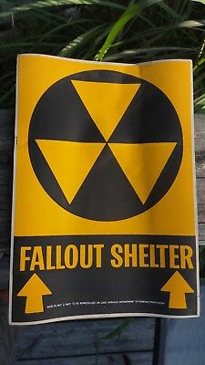 Fallout Shelter Sign Sticker Department Of Defense Issue 1950's Nuclear Scare