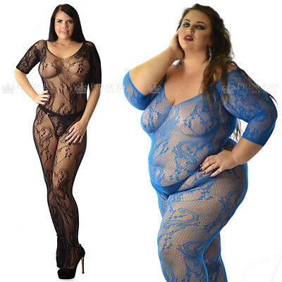 Plus uk 6-26 Transparent Fishnet Bodysuit Body Stocking Lingerie Lot Underwear