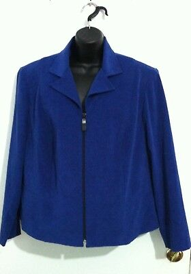 Positive Attitudes Women Ladies Plus Size 18 Front Zip Suit Jacket Blazer Blue