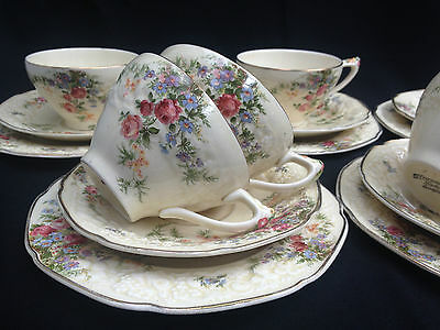 "5 Crown Ducal Florentine England Trios In The Pretty 'rosalie ""pattern."