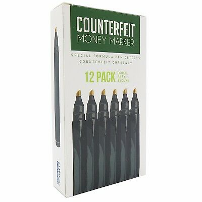 Counterfeit Money Detector Pen Marker - Universal Currency (12 Pack)