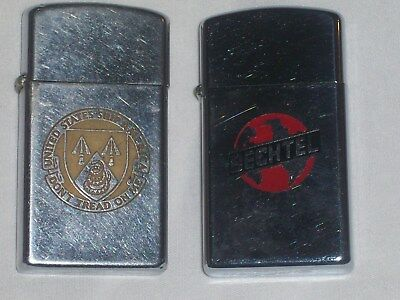 ZIPPO LIGHTER Lot of 2 VINTAGE NAVY SHIP DONT TREAD ON ME / 1965 BECHTEL