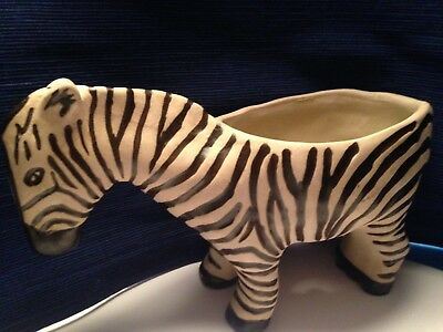 ZEBRA SAFARI PLANTER (EARTHENWARE) by Leah Reena Goren EXCELLENT CONDITION