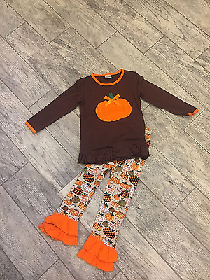 Girls Boutique Thanksgiving/Fall outfit. Tunic top and ruffled pants.  Size 8+
