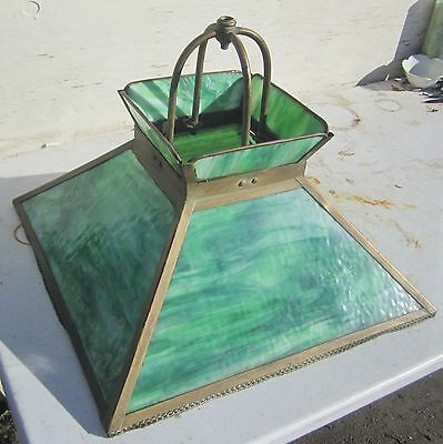 "Antique Green Slag Glass Hanging Lamp Mission Arts & Crafts 20"" Originally Gas"