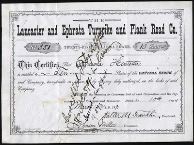 Lancaster And Ephrata Turnpike And Plank Road Co, 1891 Stock Certificate