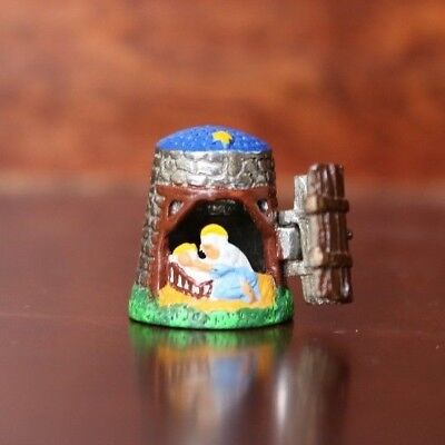 Pewter Thimble Manger Scene Mary And Baby - Made In England