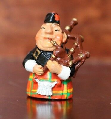 Pewter Thimble Scottish Bag Piper - Made In England