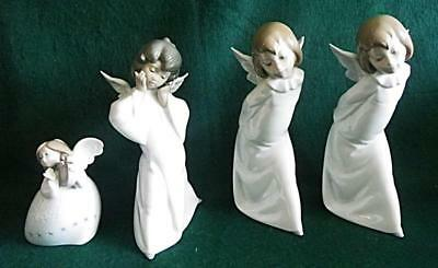 4 Lladros Little Angel, Puzzled Mime And 2 Angel/cherubs With Lantern