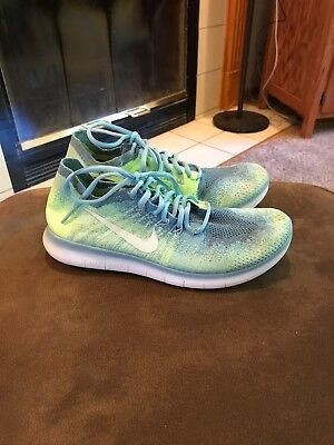 Nike Free Run Flyknit 2017 Womens Size 8 Blue Green Authentic Athletic Shoes