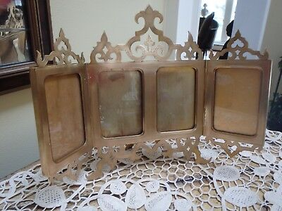 Antique 19th c French Cart De Viste 4 panel Triptych Photo Frame~Stunning