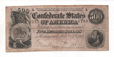 Nice Civil War Confederate CSA T-64 $500 Note Stonewall Jackson Seal Obsolete VA