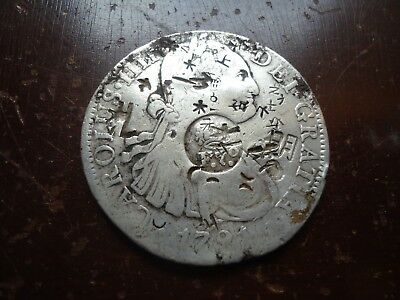 Philippines - F.7 Counterstamp on 1791 Mexico 8 Reales - With Chopmarks!
