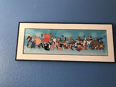 Warner Bros. 1995 Sericel Framed Art Picture Of The Looney Tunes Characters