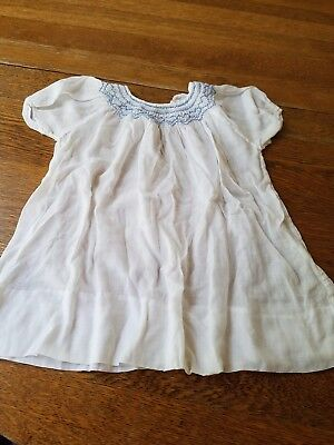 Antique Blue Smocked Dress for Baby or Doll    EUC