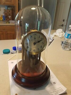 """Rare Antique """"BARR"""" Mechanical Battery Clock With Glass Dome c1925"""