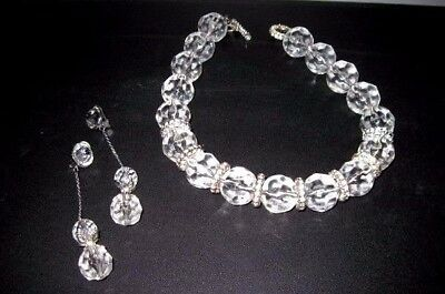 Escada Vintage Womens Necklace Earrings Clear Rhinestone Choker Clip On Couture