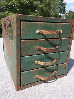 Vintage Metal 4 Drawer Small Parts Hardware Cabinet - Tool Box - Storage