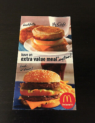COMBO MEAL CARDS...Arby's, Burger King, Hardee's, McDonald's