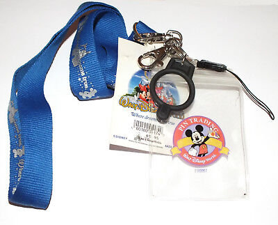 Disney Pin Trading Lanyard Where Dreams Come True Pouch Bottle Holder Clip Blue