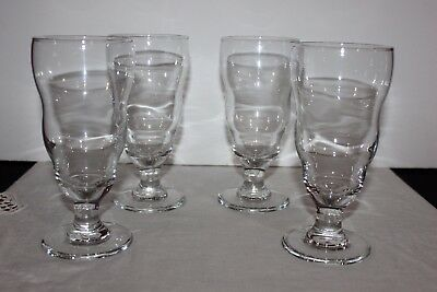 Vintage Set of 4 Footed Soda Fountain Sundae Glasses