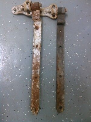 """1800's Forged Gate Offset Strap Hinges Hardware 20"""" Long Gate Cast Mount Pegs"""