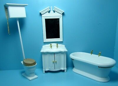 Dollhouse Miniature Victorian Top Flush Complete Bathroom Set in White T5305