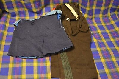 Vtg Hand Made Wool Boys Shorts-Navy Blue Pair w/Buttonholes for Suspenders-Brown