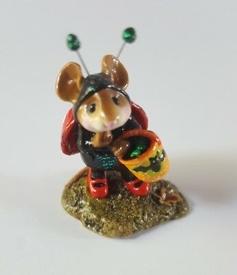 Wee Forest Folk Halloween mouse in lady bug costume