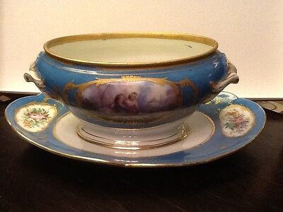 19C French Sevres Porcelain Sauce Tureen Blue Celeste Hand Painted