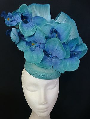 Turquoise Aqua Blue Orchid Flowers Fascinator Silk Bows Hat Races Wedding